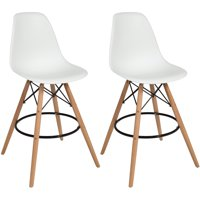 Best Choice Products Set of 2 Mid Century Modern Eames Style Counter Stools w/ Wooden Legs, Footrests - White