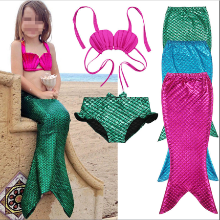 Kids Girls Swimmable Mermaid Tail Sea-maid Bikini Swimwear Swimming Costume - Green Mermaid Costume