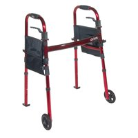 "Drive Medical Portable Folding Travel Walker with 5"" Wheels and Fold up Legs"