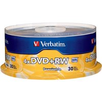 Verbatim, VER94834, 4X DVD+RW Rewritable Discs Spindle, 30, Silver