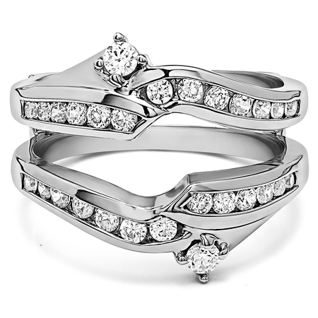 Ying Yang Inspired Anniversary Ring Guard in Sterling Silver (0.79ctw)