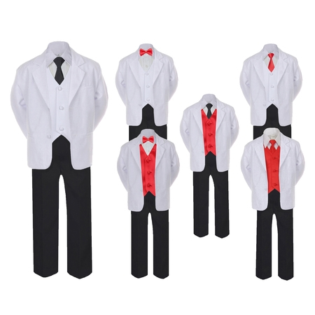 5-7pc Formal Black White Suit Set Red Bow Long Tie Vest Boy Baby Infant Sm-20 Teen - Red Vest And Bow Tie