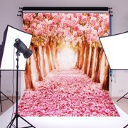 NK 5 X 7ft Photo Booth Party Backdrops Cherry Blossoms Sakura Road Printed Vinyl Fabric