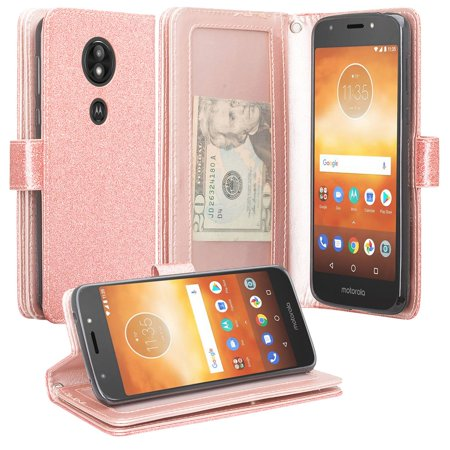 Motorola Moto E5 Play , Moto E5 Cruise Case, [Wrist Strap] Glitter Faux Leather Flip [Kickstand Feature] Protective Wallet Case Cover Clutch - Rose Gold