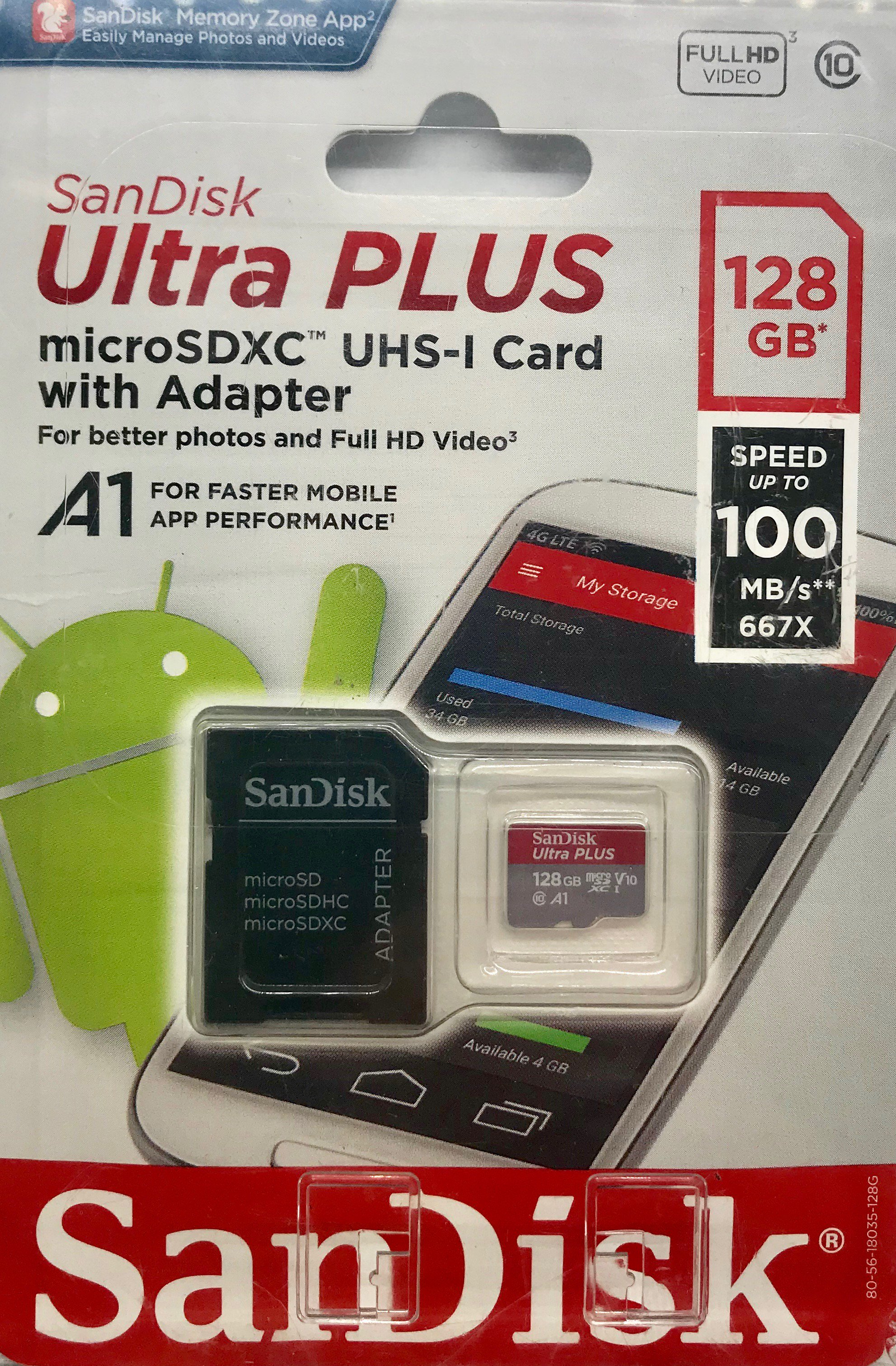 Sandisk 128g Ultra Plus Microsd, Sdsqubr-128g-aw