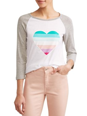 Ombre Heart 3/4 Baseball Graphic Tee Women's
