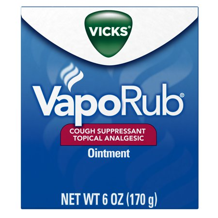 - Vicks VapoRub Original Cough Suppressant, Topical Analgesic Ointment, 6 oz, Best used for relief from cold symptoms, aches, and pains