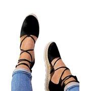 f49dd5b21 Women s Ladies Flat Wedge Espadrille Lace Tie up Sandals Platform Summer  Shoes
