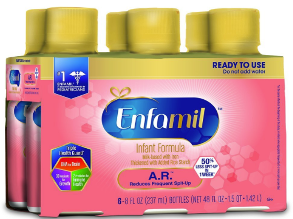 Enfamil A.R. Infant Formula for Spit Up, Ready to Use, 8 fl oz Bottles, 6