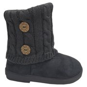 New Girls Toddlers Kids Slouch Comf Midcalf Suede Button Boots Shoes (Grey 2285C, 7 Toddler) **NOTE: Order 1 Size Bigger, These Run 1 Size Small**