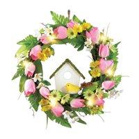 Spring Front Door Wreath Decoration with Tulips, Birdhouse & Lights