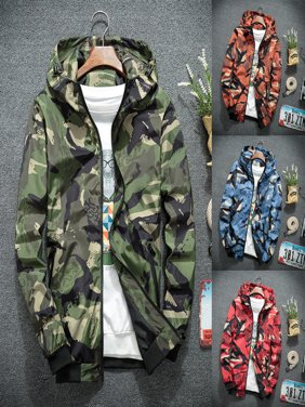 Mens Camo Hoodie Zip Up Jacket Sweatshirt Hooded Top Warm Coat Jacket Outwear