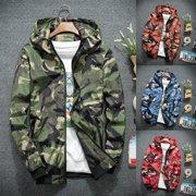 2022b18baf5a0 Mens Camo Hoodie Zip Up Jacket Sweatshirt Hooded Top Warm Coat Jacket  Outwear