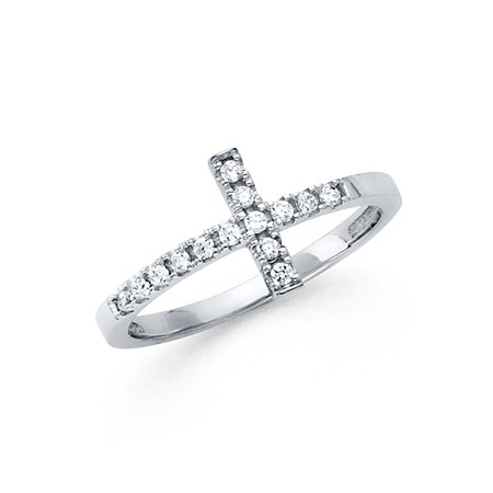 Jewels By Lux14K Gold W Side Way Cubic Zirconia CZ Cross Fashion Anniversary Ring Size 5.5