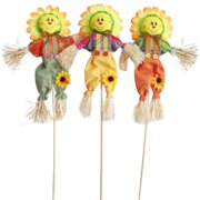 Small Fall Harvest Scarecrow Decor, 3 Pack 19.7in Happy Halloween Decorations Scarecrow Halloween Decoration for Garden, Home, Yard, Porch, Thanksgiving Decor (50cm, Sunflower)