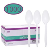 Disposable Plastic Cutlery in Bulk, Medium Weight & White Tea Spoons (Case of 1000)