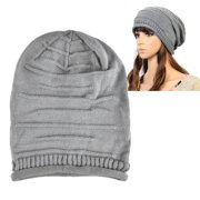 03ccb087a54 Zodaca Gray Solid Color Fashion Unisex Knit Baggy Beanie Hat Winter Warm  Oversized Ski Cap