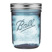Ball Wide Mouth Collection Elite Blue Pint Glass Mason Jars with Bands and Lids, 16 oz., 4 Count