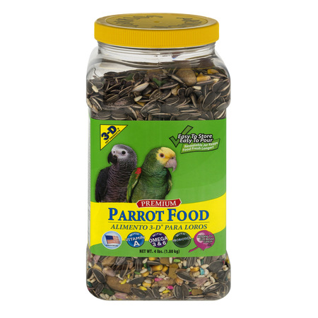 3-D Premium Parrot Food, 4.0 (Bird Food 4lb Bag)