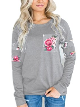Casual Women T Shirts Blouse Long Sleeve Round Neck Shirt Women's Clothing Floral Printed Pocket