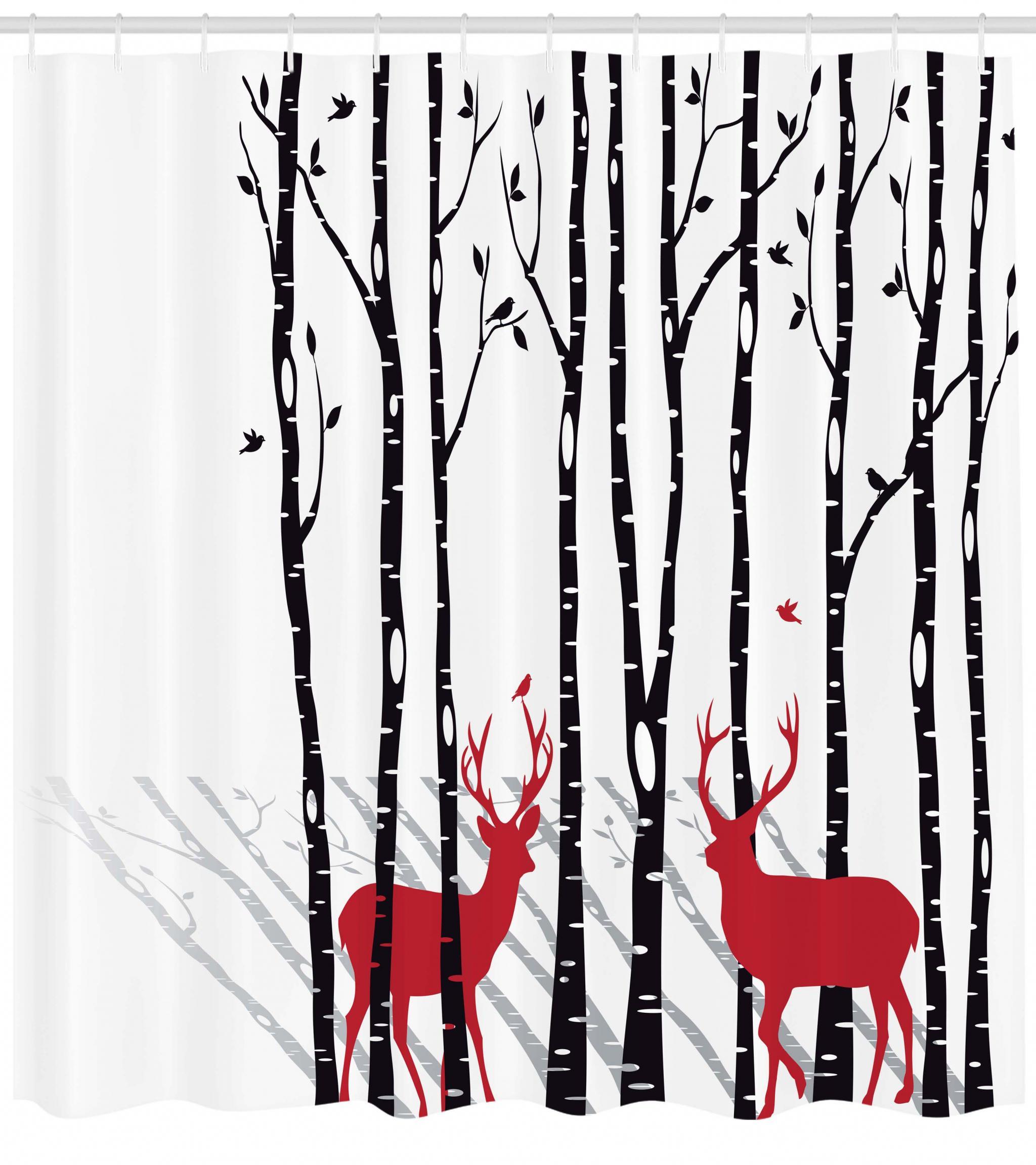 Santa Claus Deer Reindeer Waterproof Fabric Bathroom Curtain
