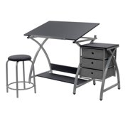 Studio Designs Laminate Craft Table Comet Center with Stool, Black and Silver