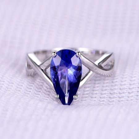1 Carat Pear cut Real Tanzanite and Diamond Engagement Ring in 18k Gold Over Silver