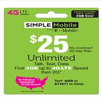 Simple Mobile $25 Unlimited Talk, Text & Data (First 3GB up to 4G LTE* then 2G*) 30-Day Plan (Email Delivery)