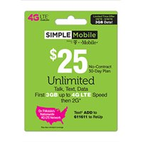 Simple Mobile $25 Unlimited Talk, Text & Data (First 3GB? up to 4G LTE* then 2G*) 30-Day Plan (Email Delivery)