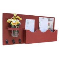 Triple Large Slot Mail Organizer with Key Hooks & Mason Jar