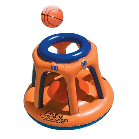 Water Basketball Game (Swimline 90285 Basketball Hoop Giant Shootball Inflatable Fun Swimming Pool Toy)