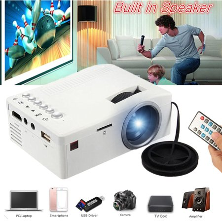 - UNIC Home 1080p Mini LCD LED Movie Game Video TV Projector Compact Pocket Home Theater Cinema Projector Digital Multimedia Projector For iPa d iPhon e TV Laptop DVD Tablet Smartpho