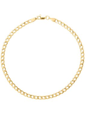 """Simply Gold 10kt Yellow Gold 3mm Curb Chain Bracelet, 8"""""""