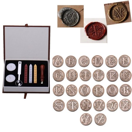Wax Seal Bottles - Wax Seal Stamp Kit,Vintage Initial Letters A-Z Alphabet Wax Badge Seal Stamp Kit Wax Seal Sticks with Wicks Gift Box Set(A)