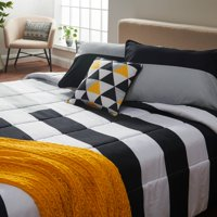 MoDRN Industrial Bold Stripe Comforter Set with Decorative Pillow & Throw