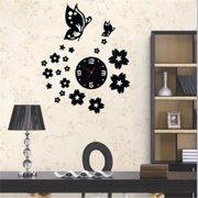 Modern 3D DIY Home Living Room Butterfly Flower Sticker Decor Mirror Wall Clock