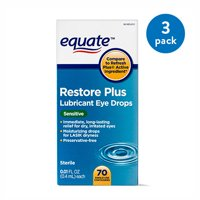 (2 Pack) Equate Restore Plus Lubricant Eye Drops, For Lasik Dryness, 70 ct.