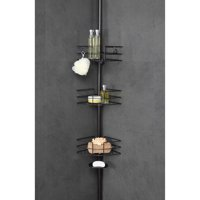 HomeZone 3-Tier Adjustable Wire Corner Shelf Extension Pole Caddy, Oil-Rubbed Bronze