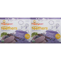 (2 Pack) Happy Baby Gentle Teethers Organic Teething Wafers, Blueberry & Purple Carrot, 12 ea