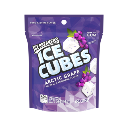 Ice Breakers Ice Cubes Arctic Grape Flavor Gum, 100 Pieces, 8.11 Oz. - Light Up Ice Cubes Wholesale