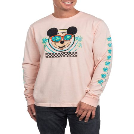 Disney Mickey Mouse Men's Long Sleeve Palm Tree Graphic Tee, Up to size 2XL](Mickey Mouse Custom)