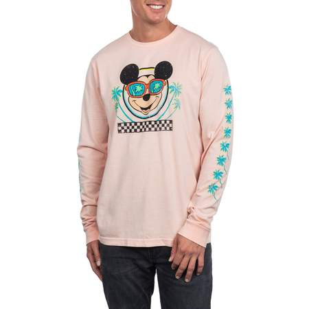 Disney Mickey Mouse Men's Long Sleeve Palm Tree Graphic Tee, Up to size 2XL - 2017 Pop Culture Halloween