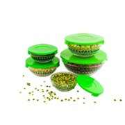 10 Pcs Polka Dots Glass Bowls And Food Storage Container Set With Green Lids