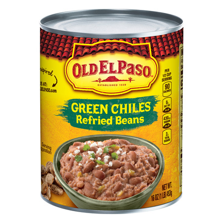 Old El Paso Green Chiles Refried Beans, 16 oz - Chili Lights
