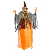 Hanging 8 Foot Scary Orange Witch, Cackle Laughs, Flashing Red LED Eyes Prop Decoration - Sound & Touch Activated, Scarecrow Straw Hair - Haunted House Graveyard Entryway Display
