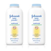 (2 pack) Johnson's Baby Powder With Aloe Vera & Vitamin E For After Bath, 15 Oz.