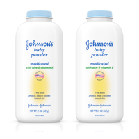 (2 pack) Johnson's Baby Powder With Aloe Vera & Vitamin E For After Bath, 15 Oz.