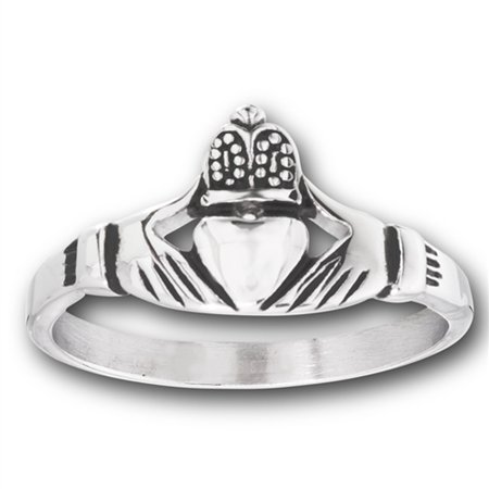 - Claddagh Heart Crown Filigree Polished Ring ( Sizes 5 6 7 8 9 10 11 12 13 14 15 16 17 18 ) New Stainless Steel Band Rings by Sac Silver (Size 10)