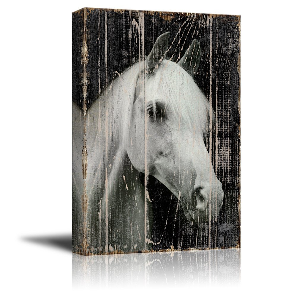 Wall26 Canvas Print Wall Art   Head Of A White Horse On Rustic Style Wood  Background