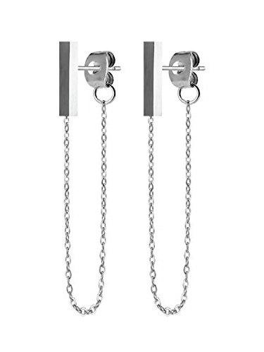 BodyJ4You Stud Earrings Modern Fashion Bar Chain Silvertone Stainless Steel Women Piercing Jewelry
